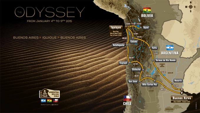 Officiële route Dakar Rally 2015 bekend gemaakt