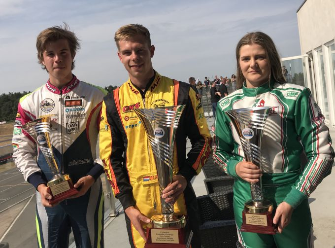 Podium Rotax Max senior winnaar Mick Nolten