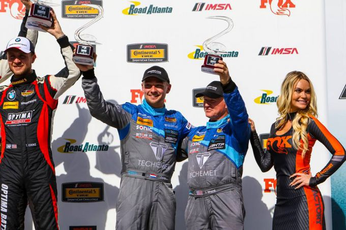 Indy Dontje podium Road Atlanta 2018 Continental Tire Sportscar Challenge