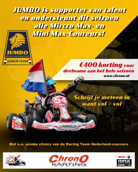 Jumbo Micro Max en Mini Max NK karting Chrono Karting Jumbo Junior Racing Team Nederland