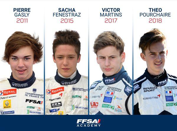 Pierre Gasly, Sacha Fenestraz, Victor Martins, Th�o Pourchaire FFSA Academy